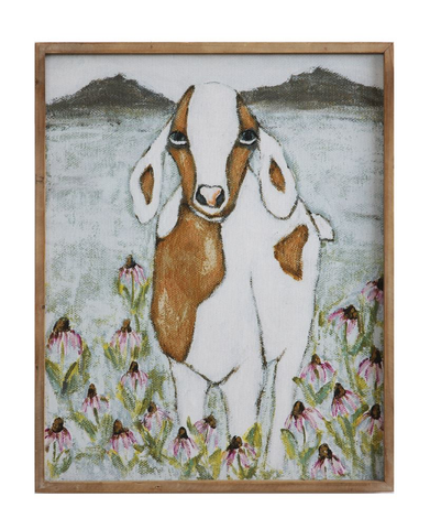GOAT WOOD FRAMED CANVAS, Creative Co-op - A. Dodson's