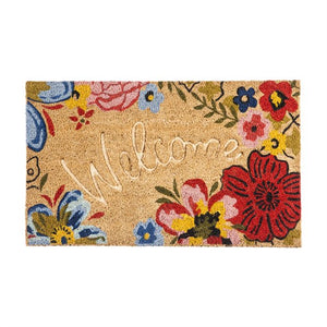 FLORAL DEBOSSED WELCOME COIR MAT