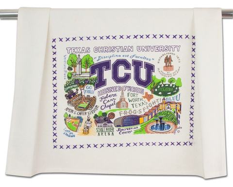 TEXAS CHRISTIAN UNIVERSITY DISH TOWEL BY CATSTUDIO
