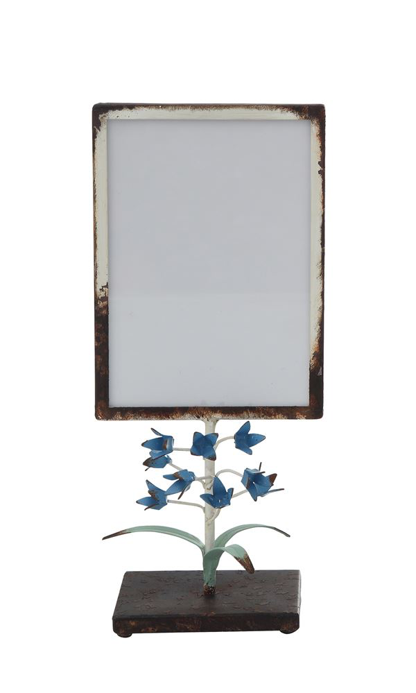 "11"" METAL PHOTO FRAME WITH TOLE FLOWERS ON STAND"