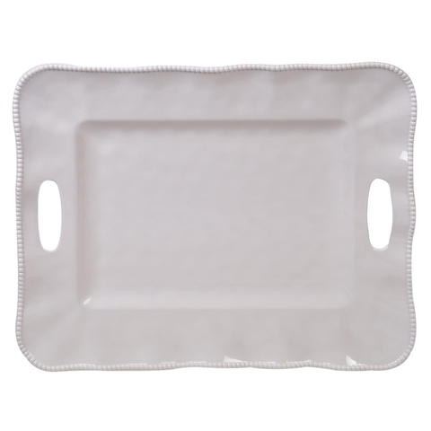 "PERLETTE CREAM RECTANGULAR TRAY WITH HANDLES 19"" X 15"", Certified International - A. Dodson's"