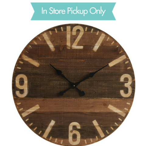 ROUND WOOD LASER CUT WALL CLOCK, Creative Co-op - A. Dodson's