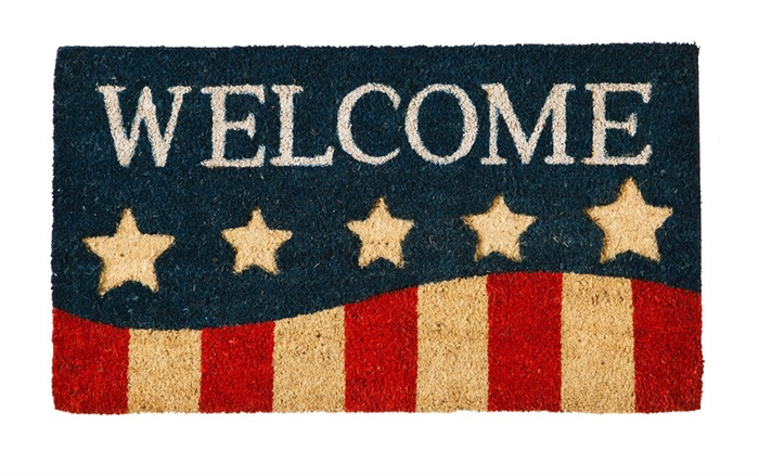 PATRIOTIC STRIPES COIR MAT