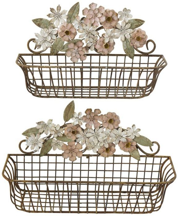 TOLE METAL WALL BASKETS W/ FLOWERS