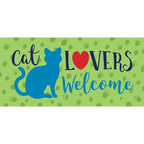 CAT LOVERS WELCOME SASSAFRAS SWITCH MAT, Evergreen - A. Dodson's