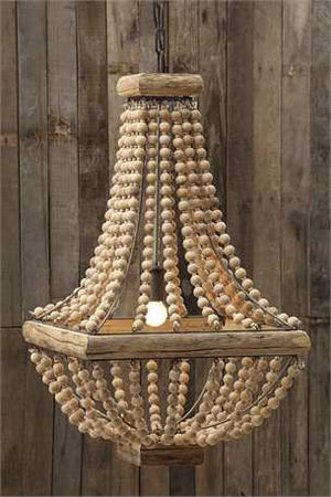 METAL CHANDELIER W/ WOOD BEADS HOME - A. Dodson's