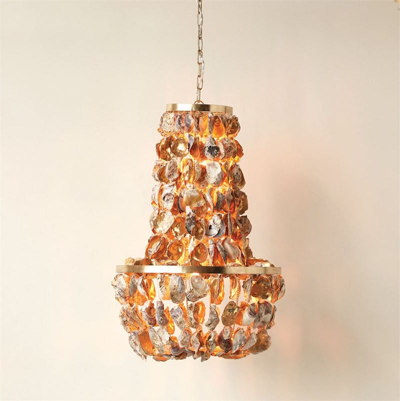 Gold oyster shell chandelier a dodsons gold oyster shell chandelier creative co op a dodsons aloadofball Image collections