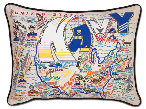 UNITED STATES NAVY EMBROIDERED PILLOW, Catstudio - A. Dodson's