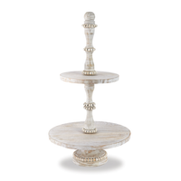BEADED WOOD TIERED SERVER