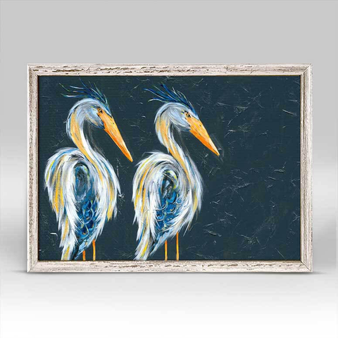 BLUE HERONS RUSTIC WHITE MINI FRAMED CANVAS - 7x5, Greenbox Art - A. Dodson's