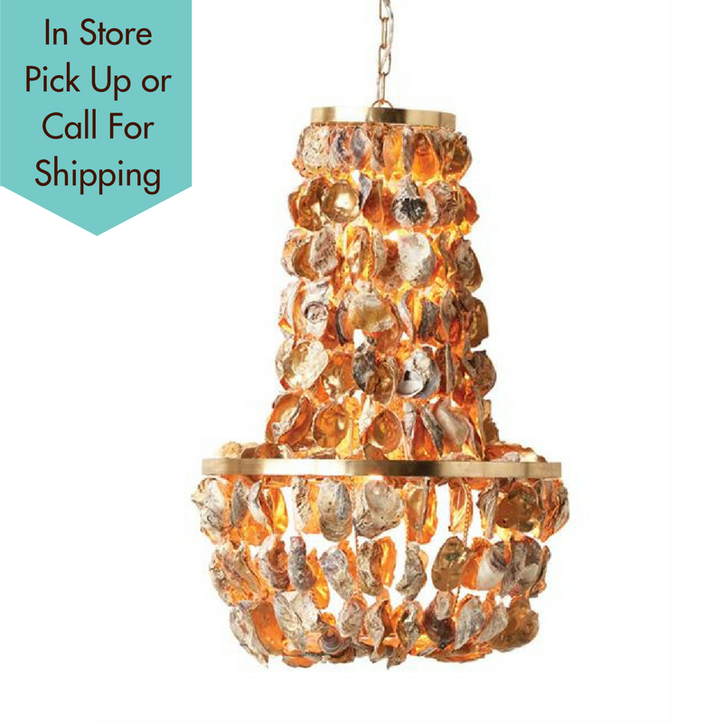 Gold oyster shell chandelier a dodsons gold oyster shell chandelier creative co op a dodsons mozeypictures Images