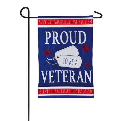 PROUD VETERAN GARDEN APPLIQUE FLAG