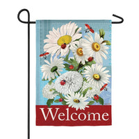 DAISIES AND LADYBUGS GARDEN SUEDE FLAG