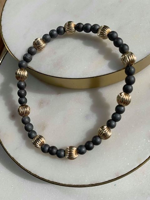 HEMATITE SINCERITY PATTERN 4MM BEAD BRACELET - DIGNITY GOLD 6MM ENEWTON