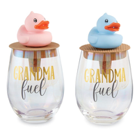 GRANDMA FUEL WINE GLASS & TOPPER SET