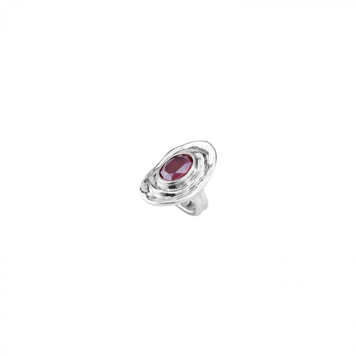 TEOTL DARK RED CRYSTAL RING - LARGE
