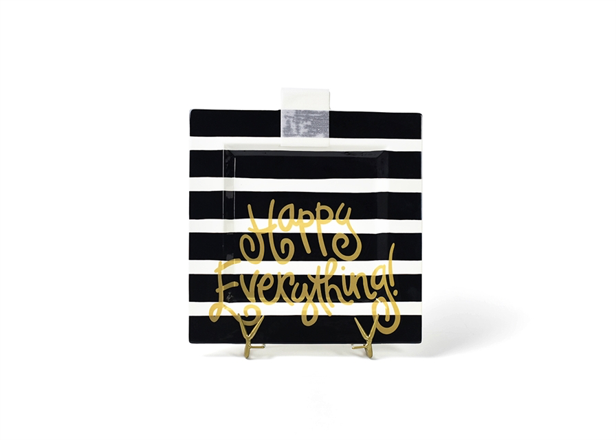 HAPPY EVERYTHING BLACK STRIPE  BIG SQUARE PLATTER, Happy Everything - A. Dodson's