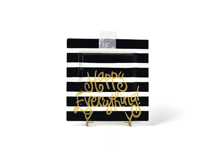 HAPPY EVERYTHING BLACK STRIPE  BIG SQUARE PLATTER