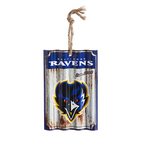 BALTIMORE RAVENS METAL CORRUGATE ORNAMENT, Evergreen - A. Dodson's