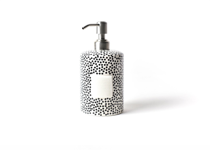 HAPPY EVERYTHING BLACK SMALL DOT MINI CYLINDER SOAP PUMP