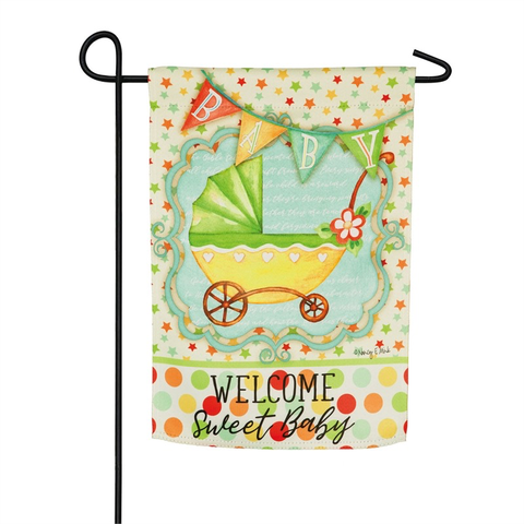 WELCOME SWEET BABY GARDEN SUEDE FLAG