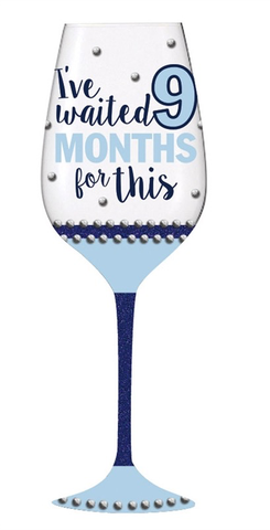 WINE GLASS 12 OZ - MONTHS BOY, Evergreen - A. Dodson's