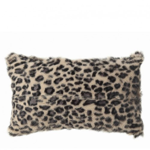 GOAT FUR PILLOW - LEOPARD PRINT