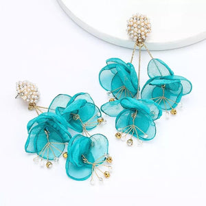 Silk Flower Turquoise Earrings