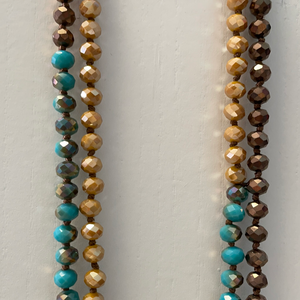 LONG BEADED AND KNOTTED NECKLACE - Turquoise/Mustard/Bronze