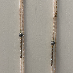 LONG BEADED ONE STRAND NECKLACE - CHAMPAGNE/PINK/GREY