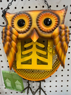 Owl Metal and Glass Bird Feeder