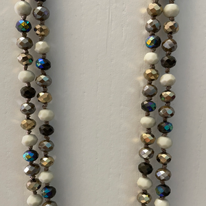LONG BEADED AND KNOTTED NECKLACE - CREAM/GREY