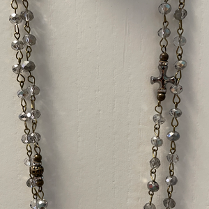 LONG BEADED NECKLACE WITH CROSS