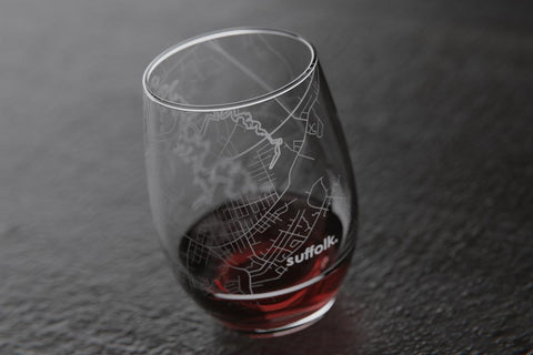 SUFFOLK, VA MAP STEMLESS WINE GLASS