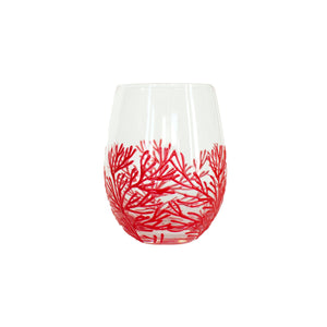 Stemless Wine Glass with Embellish Coral - 3 Asst Colors