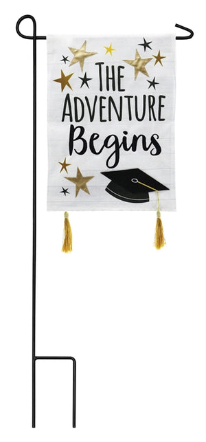 Graduation Adventure Garden Burlap Flag