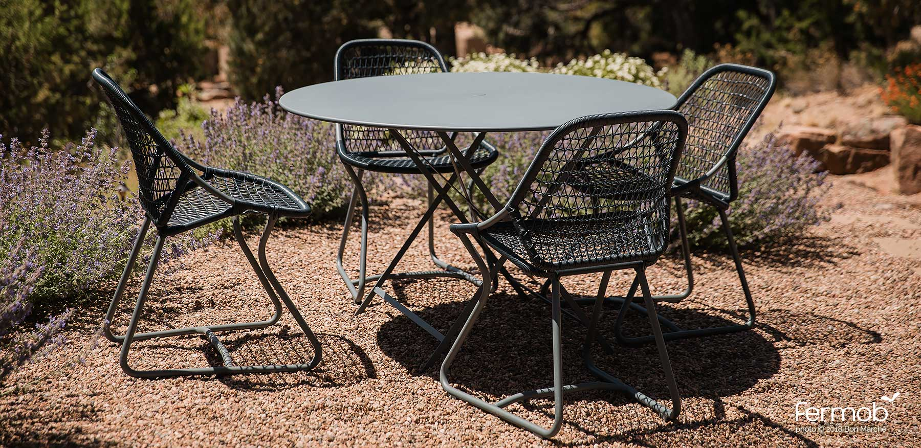 Fermob metal outdoor folding bistro table round 46 inch