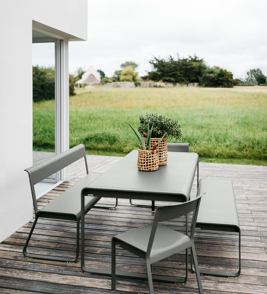 Fermob Bellevie Dining Table and Bench in Rosemary