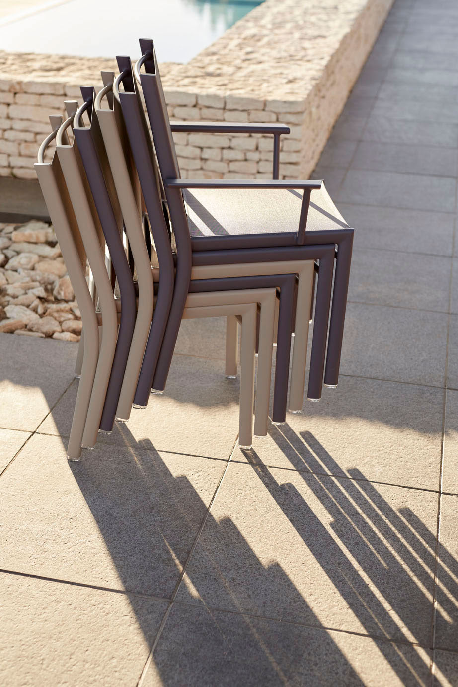Fermob Costa Stacking Chairs in Nutmeg & Plum