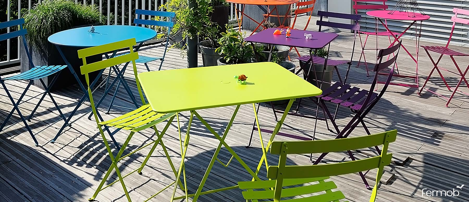 Fermob metal outdoor folding bistro table square 22 inch
