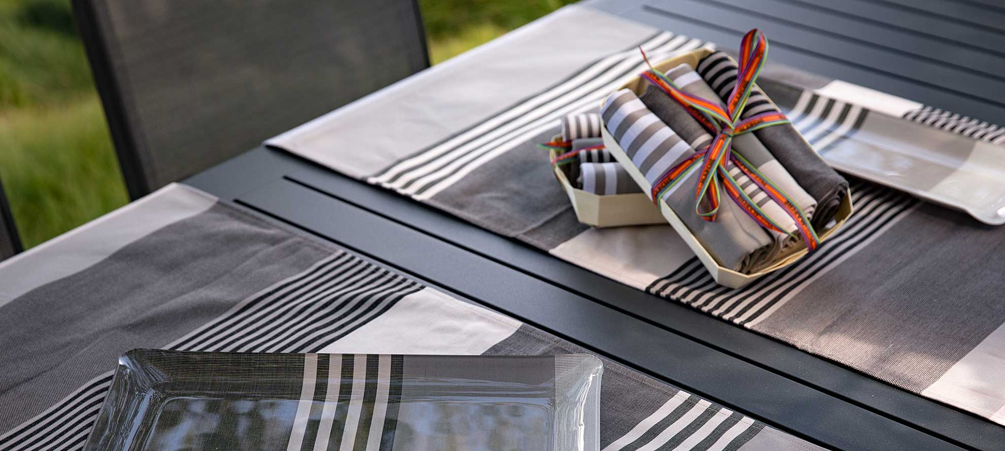 striped French table linens