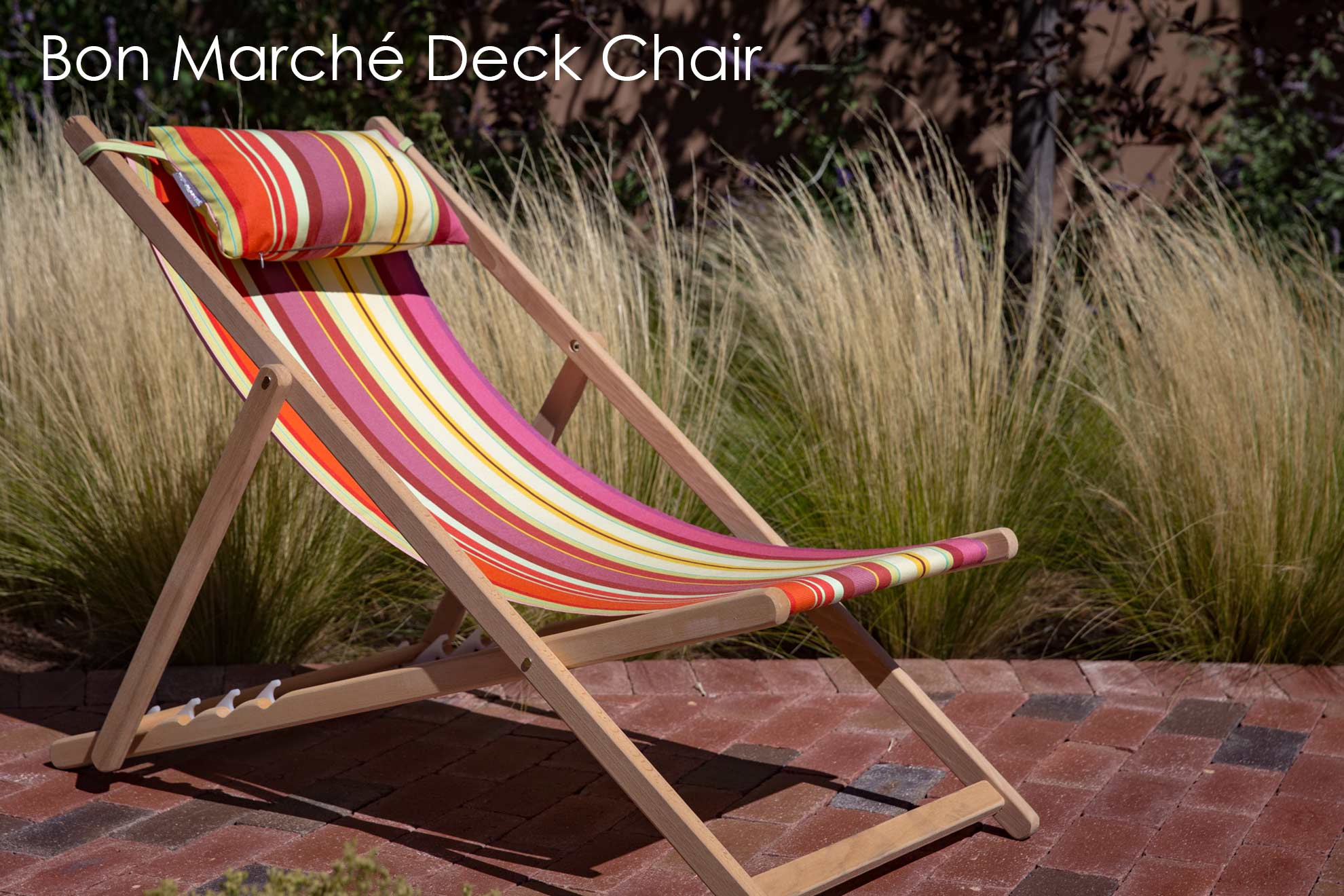 Striped fabric and wood folding deck chair