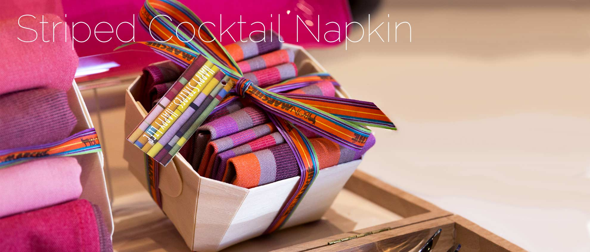 striped fabric cocktail napkins