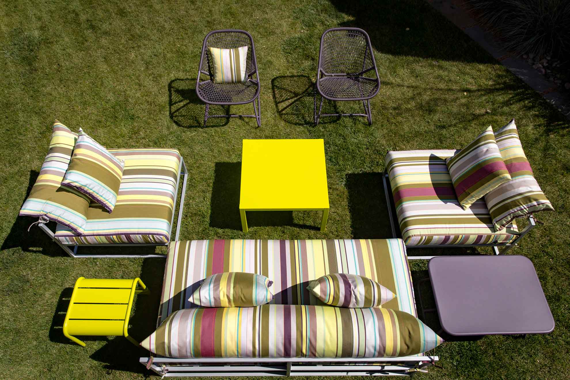 custom striped patio furniture sectionals