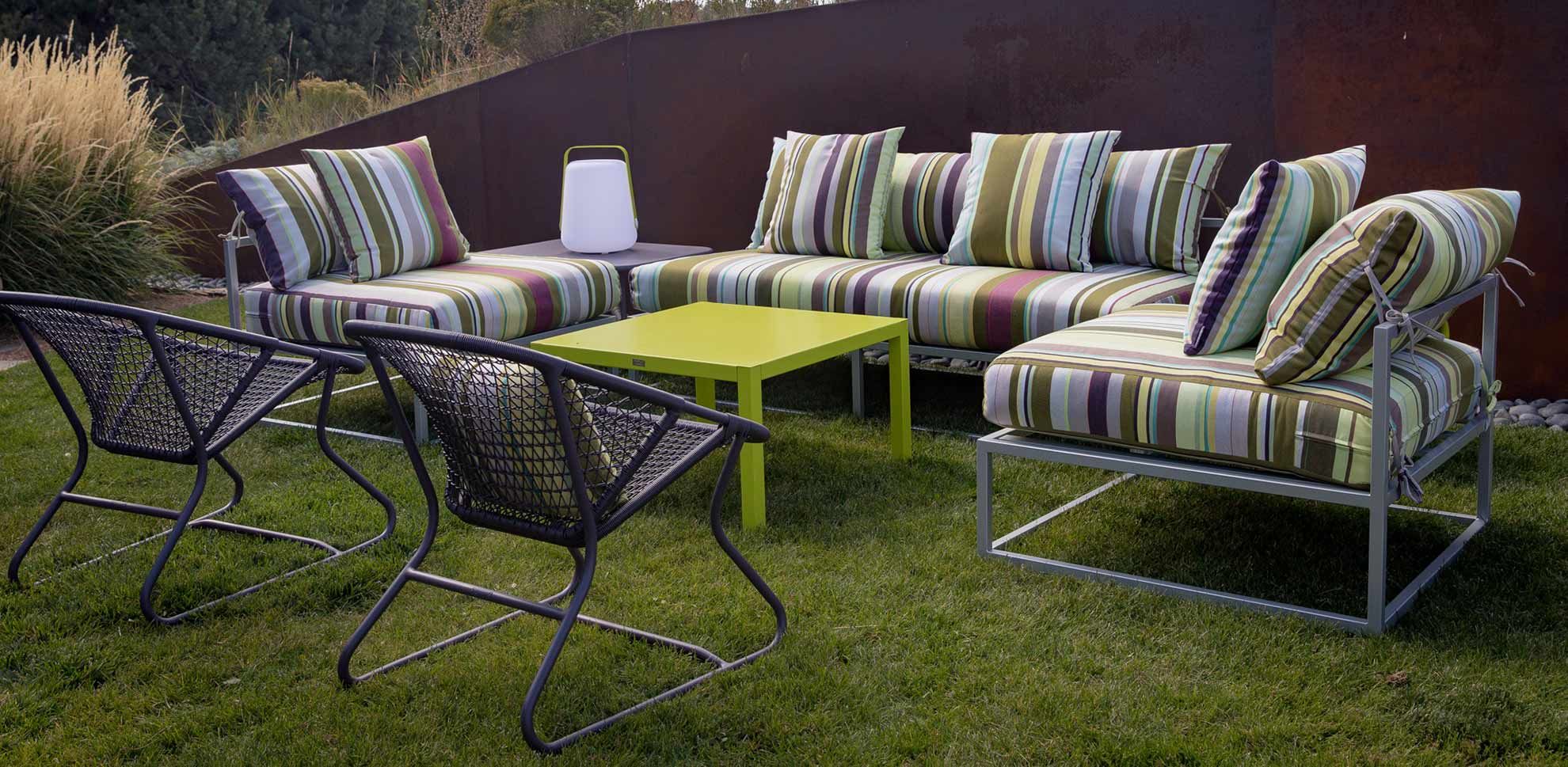 Bon Marche custom striped patio furniture