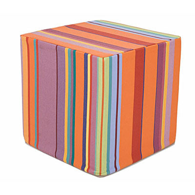 striped fabric cube ottoman seat