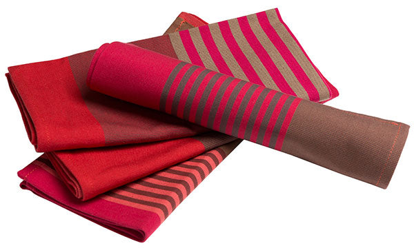 striped colorful fabric napkins