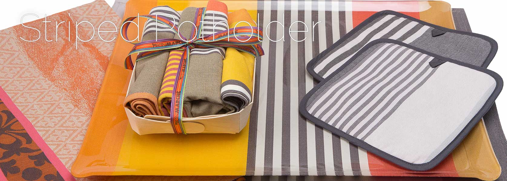 colorful striped pot holder
