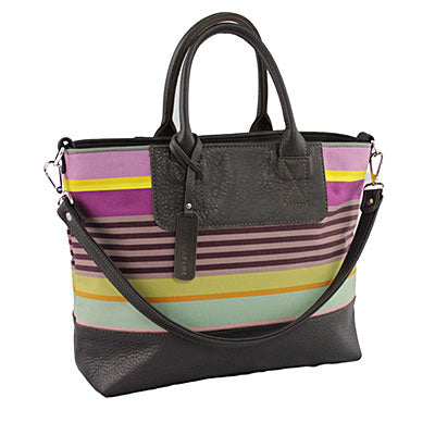 striped fabric and leather bag