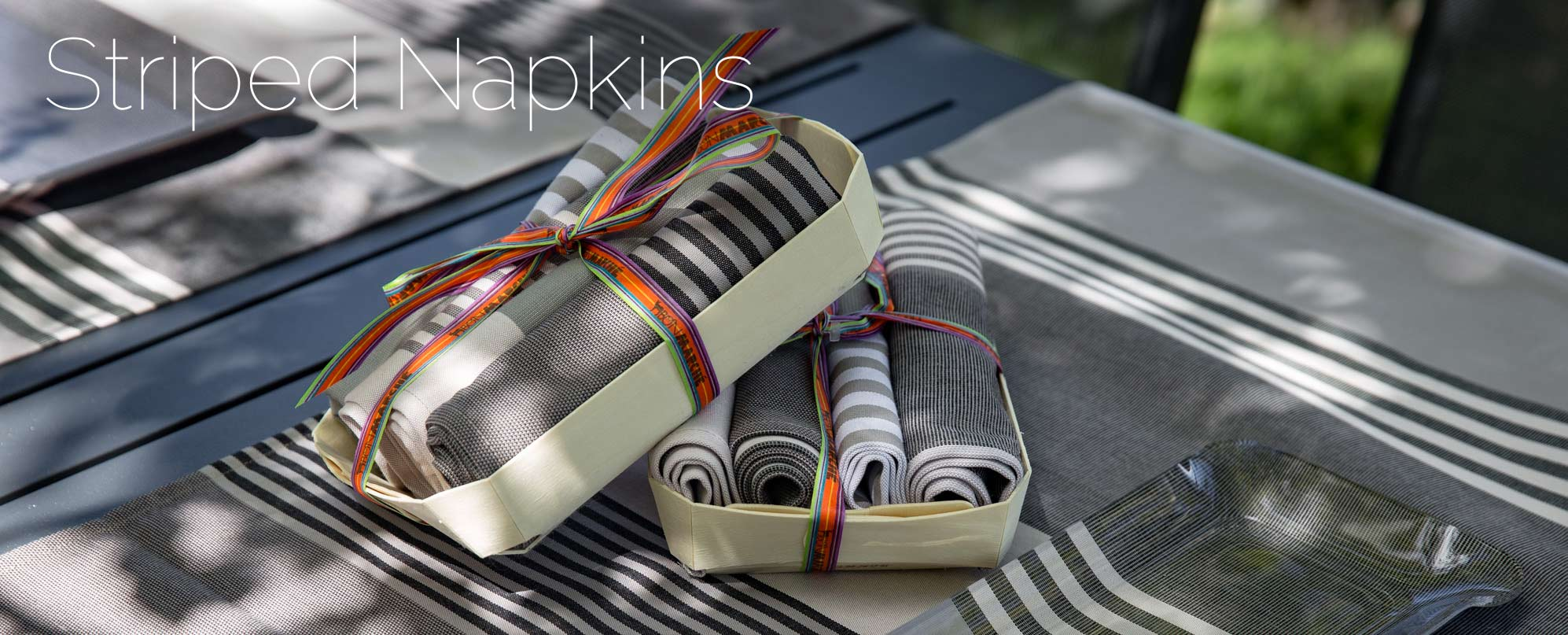 striped fabric napkins
